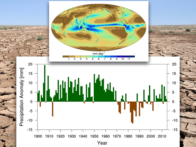 Temporal variations of the annual-mean precipitation over the Sahel region of Africa Top map: Spatial distribution of the annual=mean precipitation averaged from 1979-2008. Credit: Global Precipitation Climatology Project (GPCP) data set. Bottom: Time series of the annual mean precipitation anomaly relative to the 1971-2000 climatology over the Sahel region of Africa. Credit: Global Historical Climatology Network (GHCN) data set. Background image: Drought – George Safonov